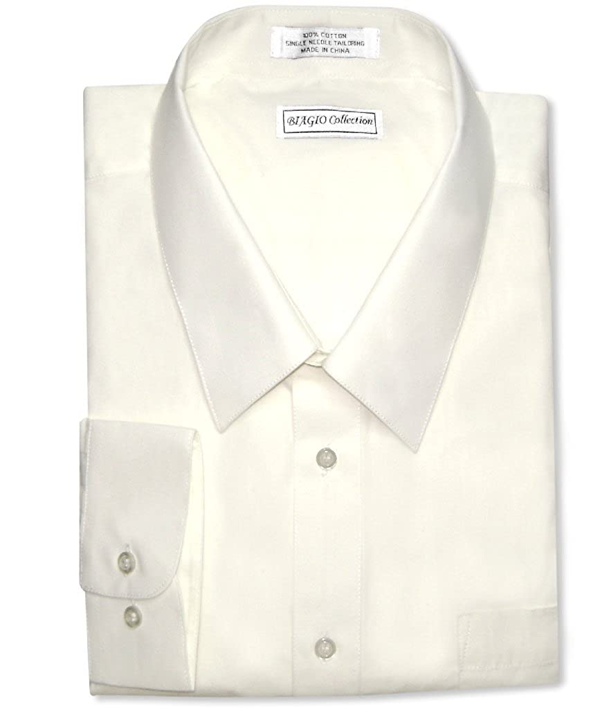 de70f5514862 Top1  Biagio Men s 100% COTTON Solid CREAM Color Dress Shirt w Convertible  Cuffs