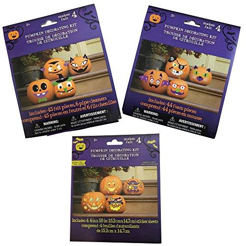 HALLOWEEN PUMPKIN DECORATING KITS 3 UNIQUE SETS. Makes 4 faces each total of 12 pumpkin faces.