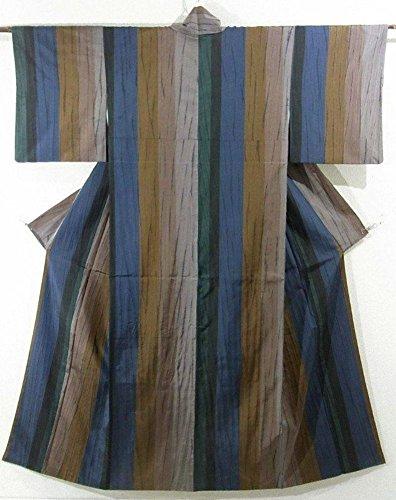 インターネット最愛のスポンサーリサイクル 着物 紬 縞模様 筋絞り 袷 正絹 裄65cm 身丈164cm