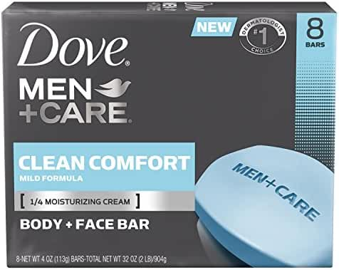 Dove Men+Care Body and Face Bar, Clean Comfort 4 oz, 8 Bar