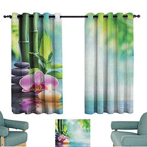 ParadiseDecor Spa,Drapery Symbolic Spa Features with Candle and Bamboos Tranquil and Thoughtful Life Nature Print 42