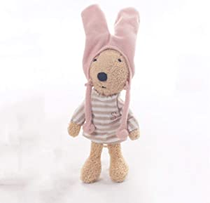 Poooc Rabbit Plush Toy Bunny Stuffed Animal with a Hat Soft Fabric Washable Surface Baby Accompany Sleep Toy Great Gift for Girls and Boys Bedroom Living Room Decoration Adorable Home Furnishings