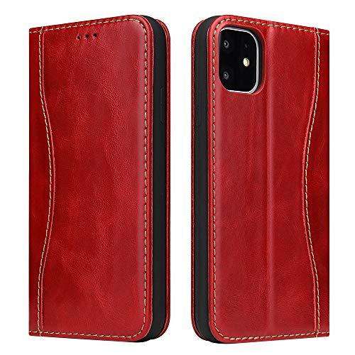 B BELK iPhone 11 Genuine Leather Case with Book Cover Magnetic Closure Design and Card Holder Kickstand Protective Cover for iPhone 11 6.1 inch (Red)