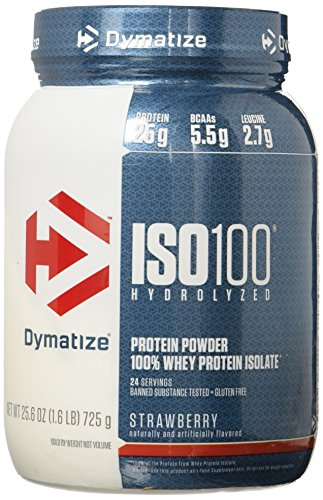Dymatize ISO 100 Whey Protein Powder Isolate, Strawberry, 1.6 (100% Strawberry)