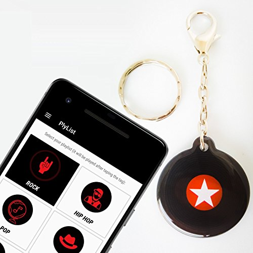 Jukebox Manual (PlyList, Jukebox Keychain - Play top music hits playlists with single tap on the tag | A key holder with ring & clip | Cool stuff | Works with all NFC enabled Androids (black-red))