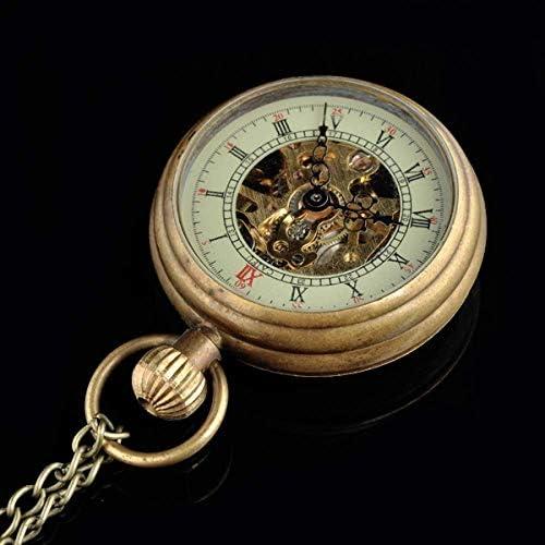 YXZQ懐中時計、女性用銅機械式スチームパンクネックレスペンダントアナログクォーツ