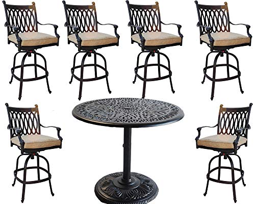 (7 Piece Patio Bar Set Cast Aluminum Grand Tuscany Barstools with 60