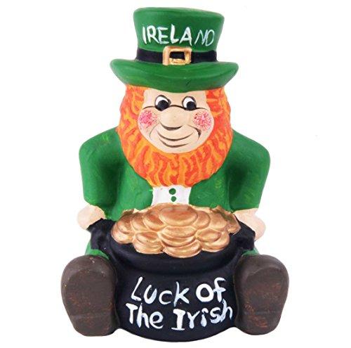 Green Ceramic Leprechaun Designed Money Box With Luck Of The Irish Pot Of Gold ()