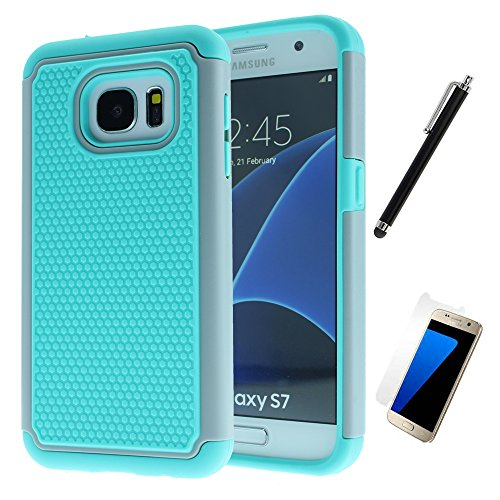 Price comparison product image Galaxy s7 Case, Dual Layer Rugged Heavy Duty Hard Hybrid Shockproof Shatterproof Case Screen Protector Stylus For Samsung Galaxy s7 [WIRELESS CHARGER COMPATIBLE] (Gray & Teal )