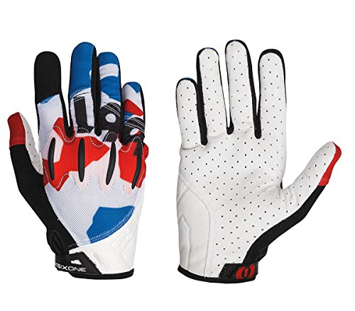 SixSixOne 2016 Men's Evo Full Finger Mountain Cycling Gloves - 7109 (Red/White/Blue - M)
