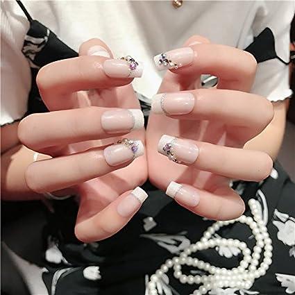 Yunai francés uñas postizas con 3d Diamante adhesivo Medium uñas ...