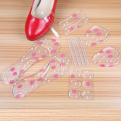 - Set of 6 High Heel Anti-loose Shoe Straps Band Gel Heel Strips Pad Shoe Insert Stickers 3/4 Arch Support Metatarsal Pad Silicone Shoe Cushions