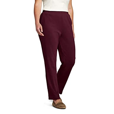 0ab17c768ef Lands  End Women s Plus Size Sport Knit Elastic Waist Pants High Rise at Amazon  Women s Clothing store