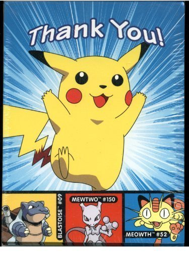 Pokemon Thank You Notes With Envelopes Featuring Pikachu - 8 Pack (Pokemon Thank You Cards)