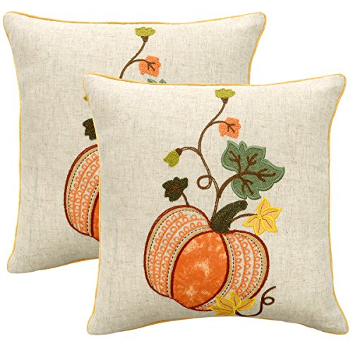 Grelucgo Embroidered Thanksgiving or Halloween Throw Pillow Case Cover, Decorative Fall Harvest Pumpkins Pillow Cover, Square 18x18 Inches, Set of ()