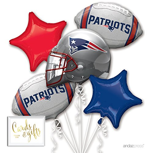 Andaz Press Balloon Bouquet Party Kit with Gold Cards & Gifts Sign, NFL Patriots Football Superbowl Party Foil Mylar Balloon Decorations, 1-Set