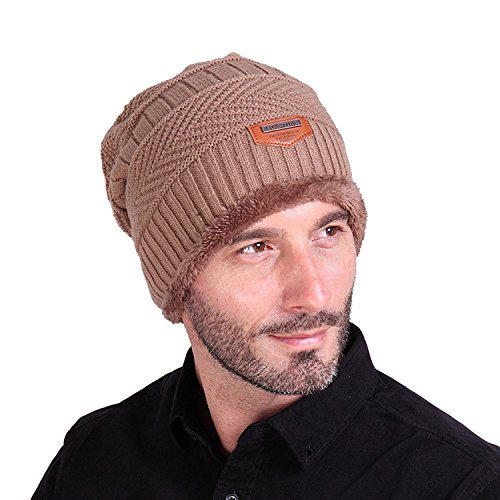 Men Knit Beanie Skull Cap Slouchy Thick Fleece Lined Ski Winter Hat Karki