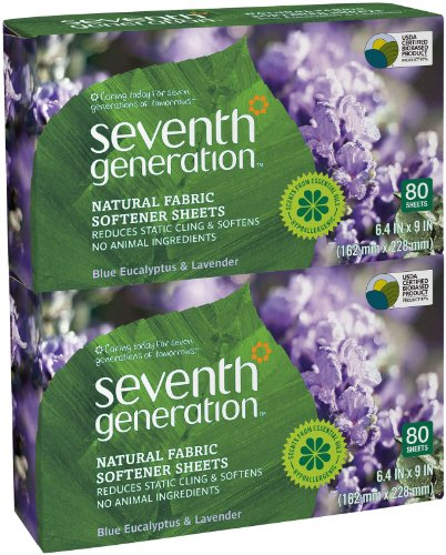 Seventh Generation Fabric Softener Sheets - Blue Eucalyptus & Lavender - 80 ct - 2 pk by Seventh Generation
