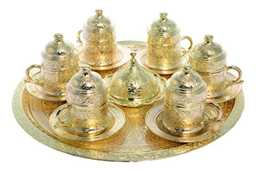 Coffee Expresso Turkish Greek Arabic Guest Serving Coffee Set-Gold Color (Serve 6 Person) (Yellow Plain Tray)