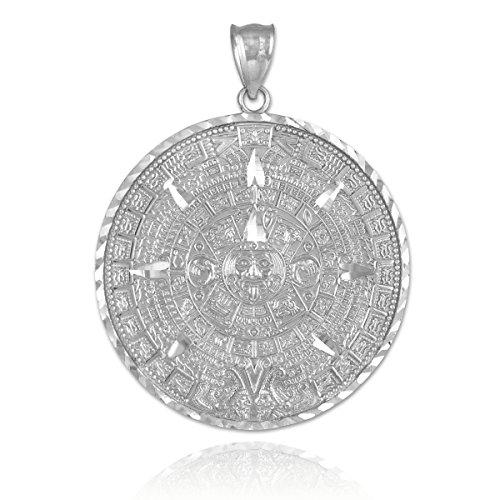 10 ct 471/1000 Or Blanc Aztec Maya Son Calendar Pendentif