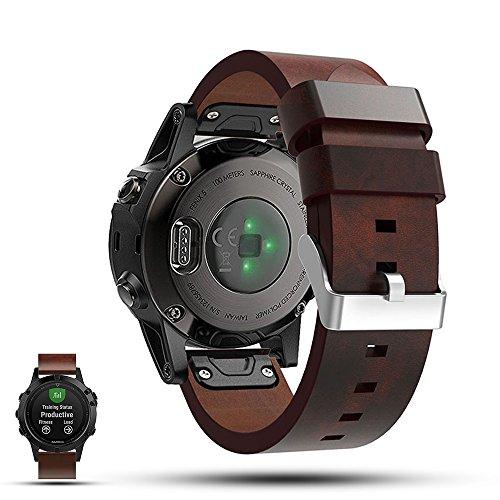 Garmin Fenix 5 GPS Smartwatch Replacement Strap Band - Feskio Genuine Flat Leather Wrist Band Watch Strap for Garmin Fenix 5 GPS Multisport Smartwatch