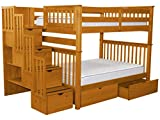 Bedz King Stairway Bunk Beds Full over Full with 4 Drawers in the Steps and 2 Under Bed Drawers, Honey Review