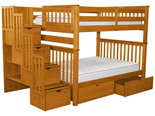 Bedz King Stairway Bunk Beds Full over Full with 4 Drawers in the Steps, Honey