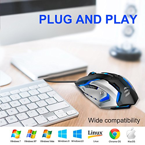 5d2e733ff80 LINGYI Gaming Mouse, 6 Programmable Buttons, 4 Adjustable DPI Levels, 4  Circular &