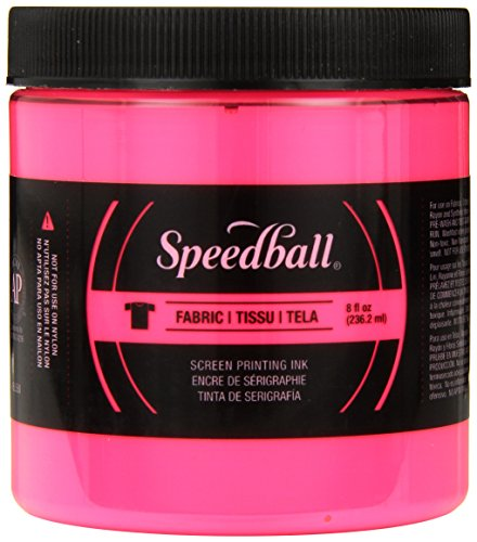 (Speedball Art Products Fluorescent Fabric Screen Printing Ink, 8 oz, Hot)