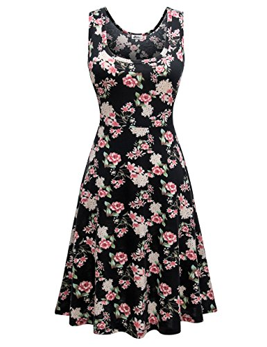 Herou Women Sleeveless Beach Casual Flared Floral Tank Dress(Flower-C,Small)