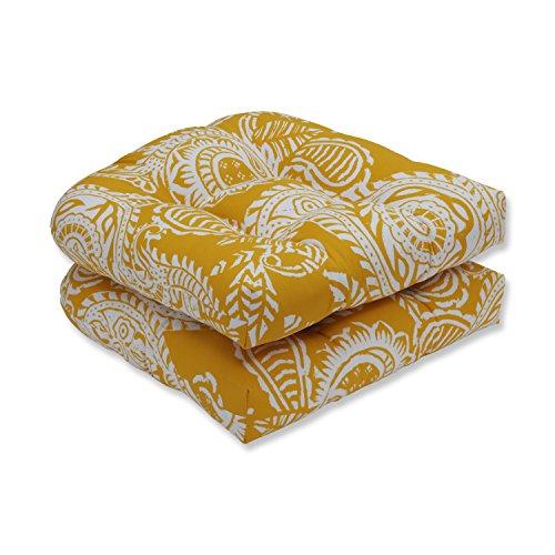 Indoor Wicker Chair Cushions - Pillow Perfect Outdoor | Indoor Addie Egg Yolk Wicker Seat Cushion (Set of 2), 2 Piece