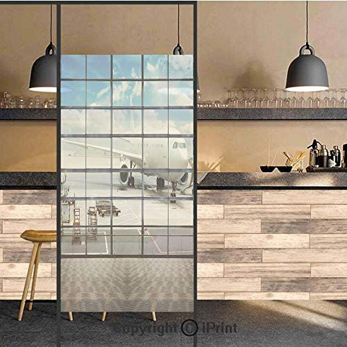 3D Decorative Privacy Window Films,China Shangai Airport with Big Jet Plane Wanderlust Traveller Photo,No-Glue Self Static Cling Glass Film for Home Bedroom Bathroom Kitchen Office 24x48 Inch