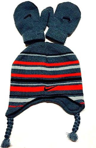 Nike Toddler Boy's Knit Striped Hat & Mittens Set (2/4T, Gray)