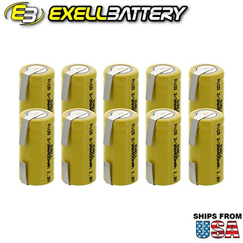 10x Exell 2/3AA 1.2V 400mAh NiCD Rechargeable Batteries with Tabs for mobile phones, pagers, medical instruments/equipment, electric tools and toys, electric razors, toothbrushes, meters, radios