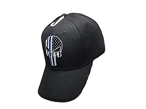 06e594e7f7b Image Unavailable. Image not available for. Color  AES Thin Blue Line Demon Ball  Cap Hat Police Officer Law Enforcement USA Flag