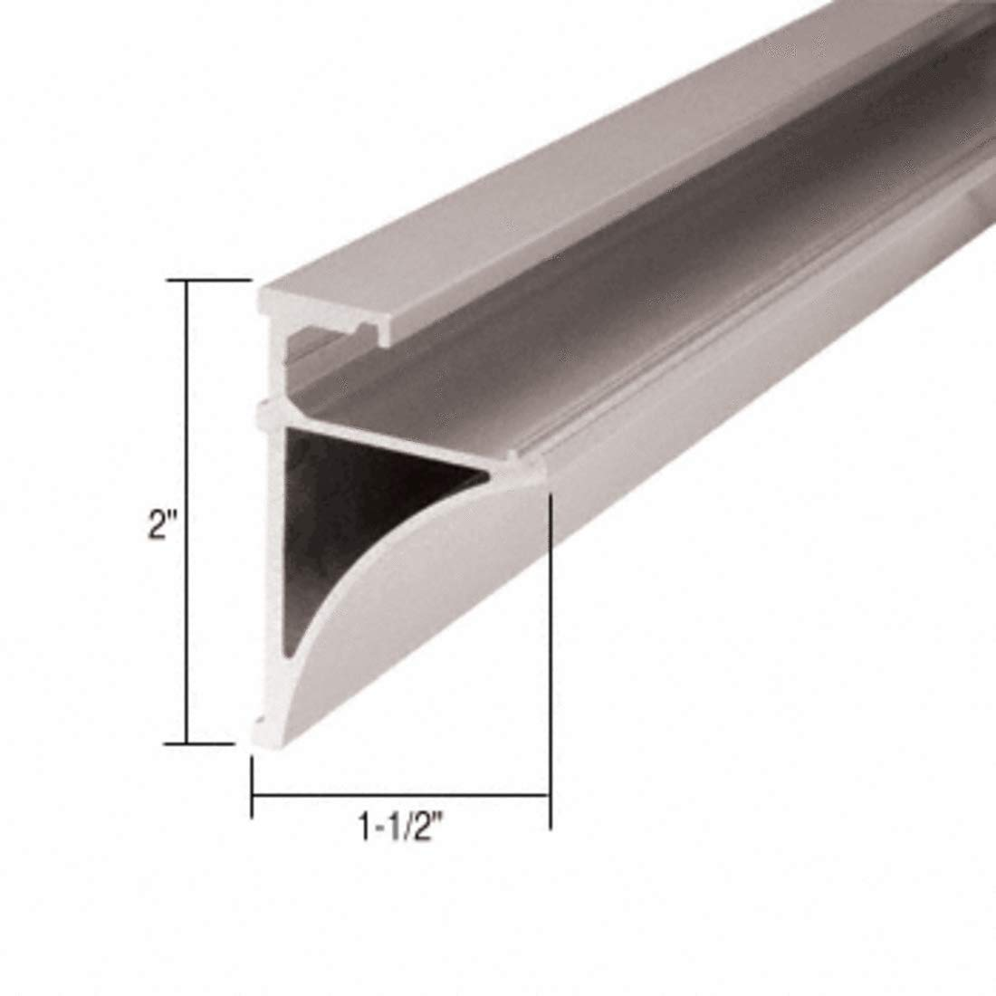 C.R. LAURENCE SE1496BN CRL Brushed Nickel 96'' Aluminum Shelving Extrusion for 1/4'' Glass