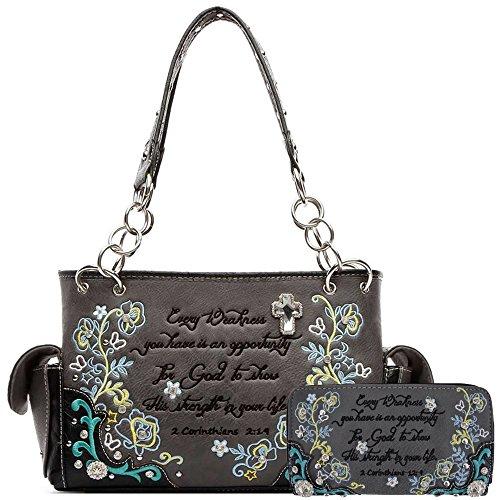 Embroidery Floral Bible Verse Scripture Purse Western Style Handbags Women Shoulder Bag Wallet Set Black (Heart Winged Handbag)