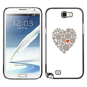 TopCaseStore / la caja del caucho duro de la cubierta de protección de la piel - Heart Meaning Deep Grey White Love Clean - Samsung Galaxy Note 2 N7100