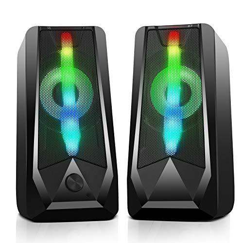 PC 게임의 스피커 16W USB 유선 RGB 컴퓨터의 스피커와 향상된 스테레오 6-모드 화려한 LED 가벼운 듀얼 채널 데스크탑 스피커에 대한 태블릿 노트북 컴퓨터 스마트폰 MP4MP3(8WX2)