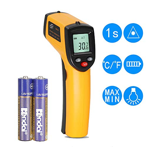 Temperature Gun Non-Contact Digital Laser Infrared IR Thermometer -58°f to 716°f (-50℃~380℃) Instant-Read Handheld, Battery Included by Ohana