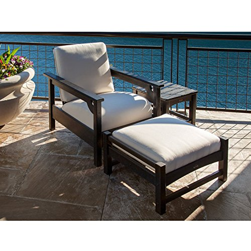 (POLYWOOD Club 3-Piece Deep Seating Chair, Ottoman and Side Table)