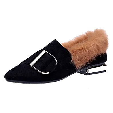 26f41376a99 CYBLING Women s Pointed Toe Suede Slip On Shoes Fur Trim Low Heel Mules Loafers  Shoes Black