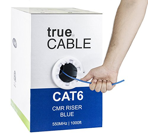 (Cat6 Riser (CMR), 1000ft, Blue, 23AWG 4 Pair Solid Bare Copper, 550MHz, ETL Listed, Unshielded Twisted Pair (UTP), Bulk Ethernet Cable, trueCABLE)