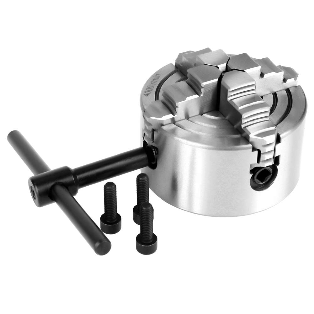 Lathe Chuck, K72-80 80mm 4-Jaw Manual Self-Centering Metal Chuck with Extra Jaws Turning Machine Accessories
