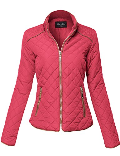 Suede Piping Quilted Padding Zipper Warm Jackets,132-Coral,Medium