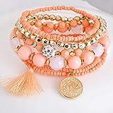Elogoog Jewelry Bohemian Stretch Beaded Layered Wrap Tassel Charm Bangle Stacked Bracelets (C)