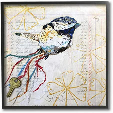 Stupell Industries Bird Notes Collage Textured Animal Design Black Framed Wall Art, Multi-Color
