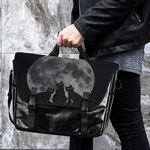 メッセンジャーバッグ メンズ 黒い猫 月柄 ブラック 斜めがけ 肩掛け カバン 大きめ キャンバス アウトドア 大容量 軽い おしゃれ