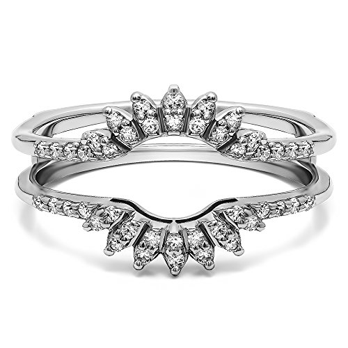 Contoured Wedding Ring Jacket with 0.14 carats of Charles Colvard Created Moissanite in Sterling Silver by TwoBirch