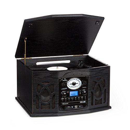 Auna 10018519 Nr-620 Tocadiscos Reproductor de Vinilos y CD, Altavoces Estéreo, Accionamiento Correa, 3 Velocidades, Máx. 45 Rpm, Sintonizador Radio FM, ...